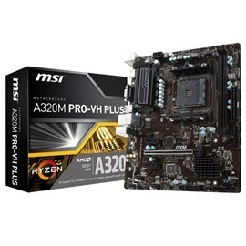 MSI Motherboard A320M PRO-VH PLUS AMD RYZEN AM4 A320 Max.32GB PCI Express SATA VGA/HDMI micro-ATX Retail