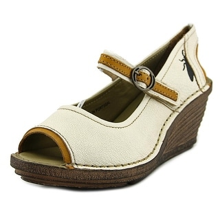 Fly London Mousse Open Toe Leather Wedge Heel