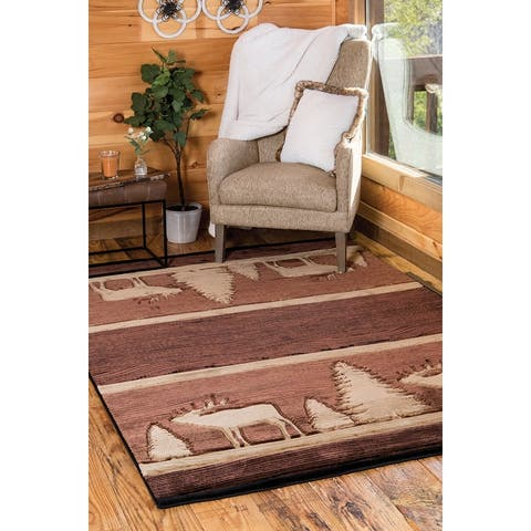 Westfield Home Graham Caves Cove Brown Hand-Carved Area Rug