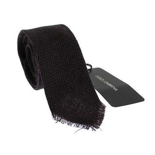 Dolce & Gabbana Brown Zig Zag Wool Skinny Tie - One size