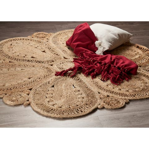 LR Home Natural Jute Hand Braided Floral Doily Rug