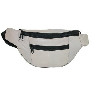 CTM® Leather Multi Compartment Pocket Waistpack