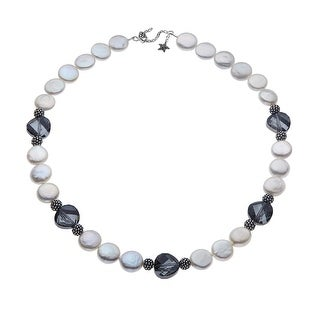 Aya Azrielant Coin Freshwater Pearl Necklace with Swarovski Crystals in Sterling Silver
