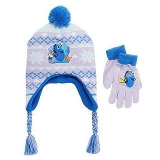 Disney Finding Dory 2PC Winter Set Pom Earflap Hat Gloves Purple/Blue OS - Purple Blue - One Size Fits most