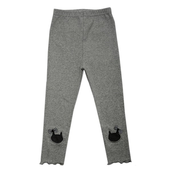 TG2627 Girl's Cotton Trousers Spring Autumn Pants Warm and Soft Gray