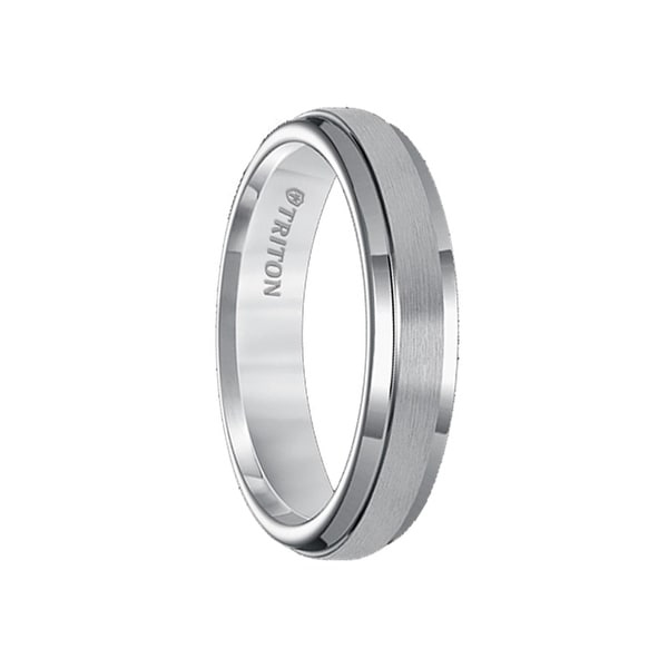 CAITLIN Womens Tungsten Carbide Ring with Raised Satin Finish Center and Polished Step Edges by Triton Rings - 5mm