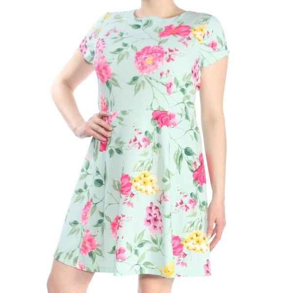 db5e4c49be1f Shop JESSICA HOWARD Womens Green Floral Print Short Sleeve Jewel Neck Above  The Knee Fit + Flare Dress Size: 16 - Free Shipping On Orders Over $45 ...