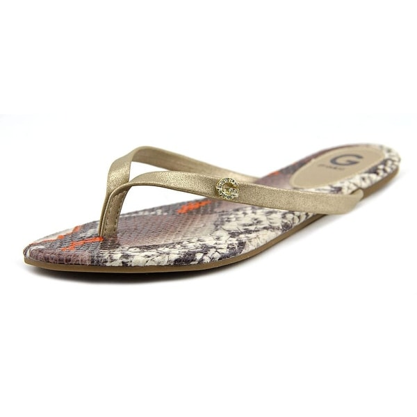 G By Guess Bayla Women Open Toe Synthetic Gold Thong Sandal