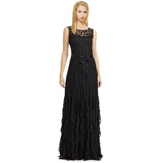Teri Jon Pintuck Dot Ruffle Sleeveless Evening Gown Dress - 12