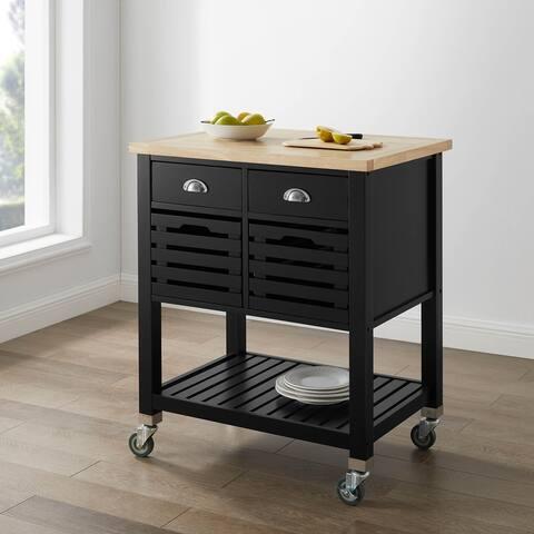 Sally 2-drawer Butcher Block Kitchen Cart with Wheels