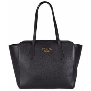 Gucci 354408 Small Black Leather Trademark Logo Swing Tote Purse