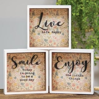 Live Life Happy Shadow Box Sign 3 Asst.