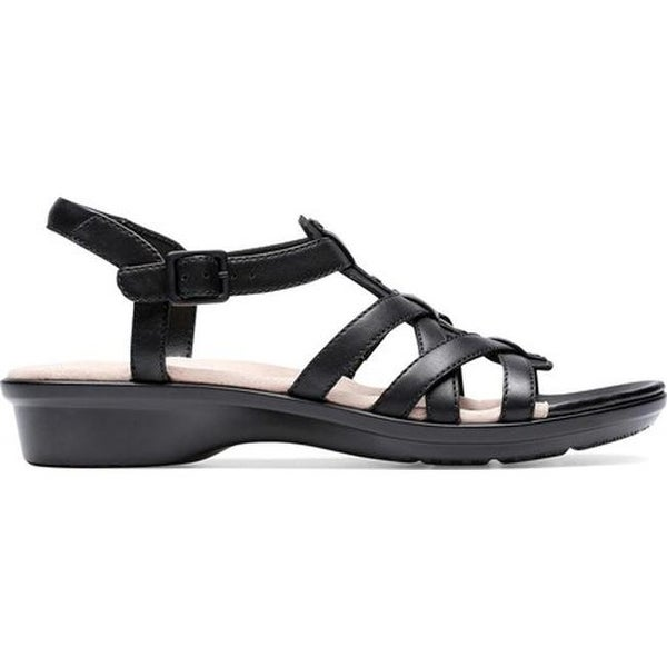 5808ee85548e Shop Clarks Women s Loomis Katey Strappy Sandal Black Leather - Free  Shipping Today - Overstock - 27346940