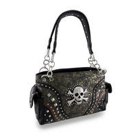 Textured Paisley Concealed Carry Purse Rhinestone Encrusted Skull