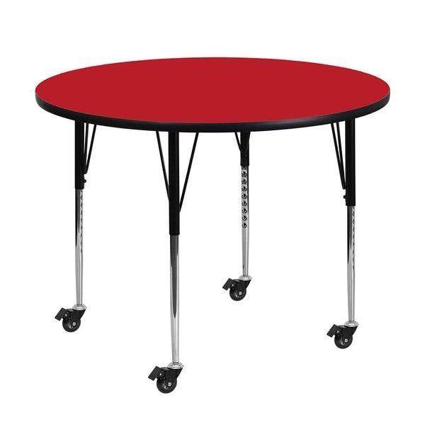 "Offex 48"" Mobile Round Activity Table with 1.25"" Thick High Pressure Red Laminate Top and Height Adjustable Pre-School Legs"