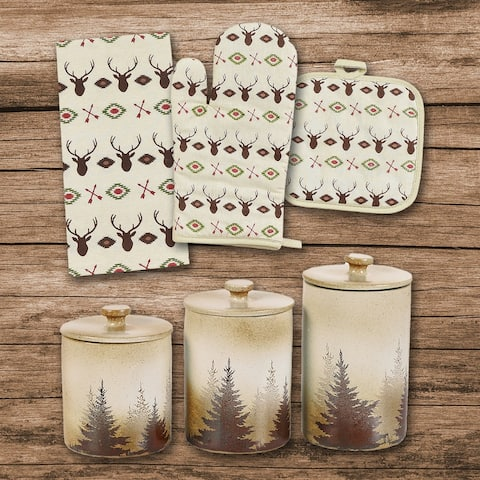 HiEnd Accents Aztec Multi Deer Print and Clearwater Pines 12 PC Set
