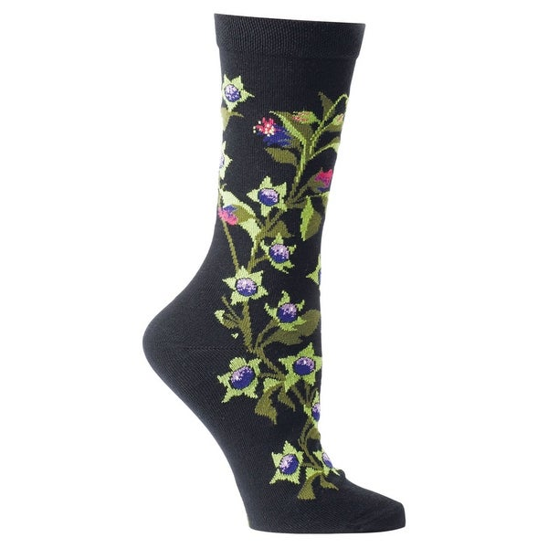Women's Witches' Garden and Apothecary Floral Socks - Cotton - Belladonna - Medium