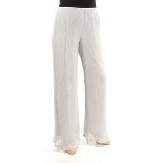MSK $69 Womens New 1132 Silver Metallic Party Pants L B+B