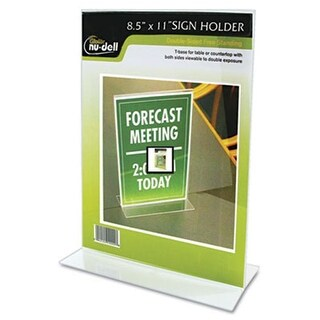 Nu-Dell 38020Z Clear Plastic Sign Holder Stand-Up 8 1/2 x 11
