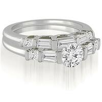 1.40 cttw. 14K White Gold Round And Baguette Cut U-Bar Diamond Bridal Set