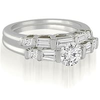 1.65 cttw. 14K White Gold Round And Baguette Cut U-Bar Diamond Bridal Set