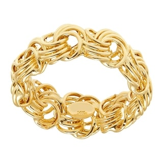 Just Gold Rosette Chain Band Ring in 14K Gold - Yellow