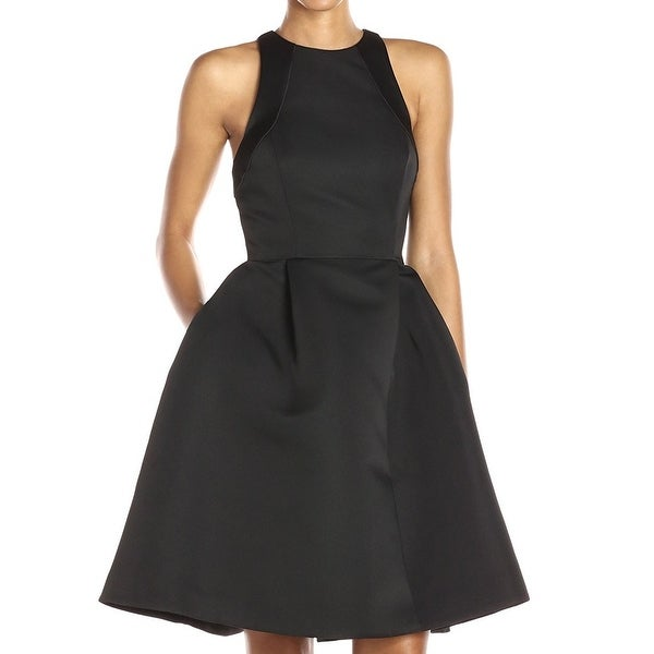 Halston Heritage Black Womens Size 8 Fit & Flare A-Line Dress