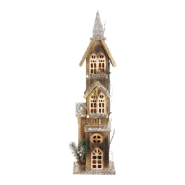 "24.5"" LED Lighted 3-Tier Brown Wooden Church Christmas Decoration"