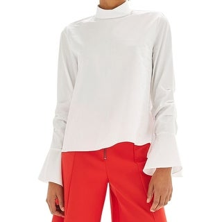 TopShop White Women's Size 10 US 6 Mock Gathered Flare-Sleeve Blouse