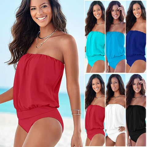 Off The Shoulder One Piece Swimsuit in Plus Size