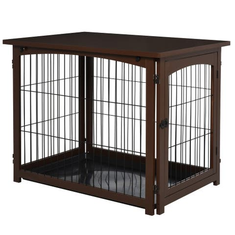 PawHut Wooden Decorative Dog Cage Pet Crate Fence Side Table Small Animal House with Tabletop, Lockable Door, Brown