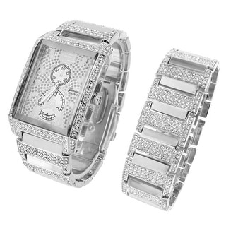 Rectangle Face Watch Iced Out Simulated Diamonds Matching Bracelet Gift Set Mens