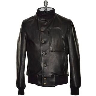 Civilian Pilot Training Black Genuine Goatskin Leather Bomber Jacket Large