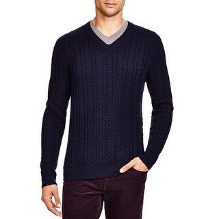 Bloomingdales Mens Wool & Cashmere Cable V-Neck Sweater True Navy Knitwear