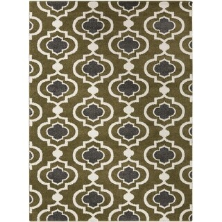 5.25' x 7.25' Spaded Flush Golden Olive and Gray Shed-Free Area Throw Rug