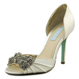 Betsey Johnson Gown Women Open-Toe Canvas Ivory Heels