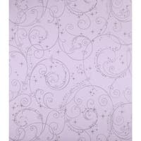 York Wallcoverings DK5965 Perfect Princess Scroll Wallpaper - Purple/Silver Glitter
