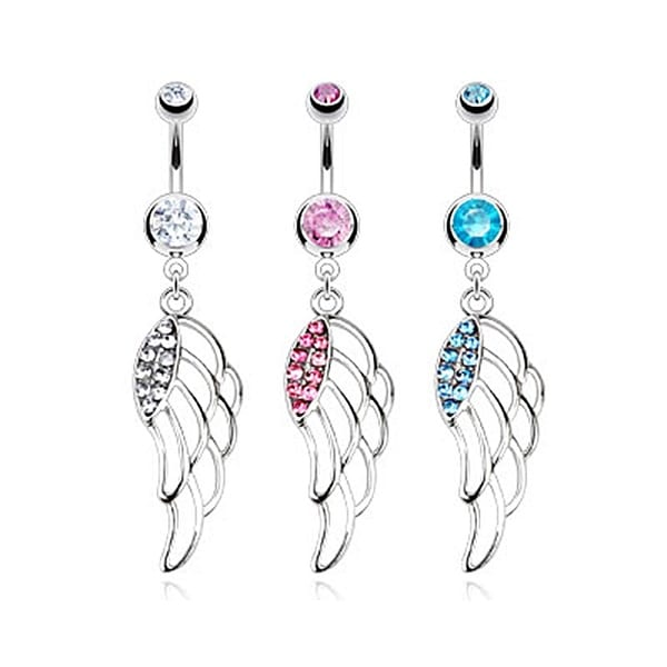 Hollow Angel Wing with Multi Paved CZ Navel Belly Button Ring 316L Surgical Steel