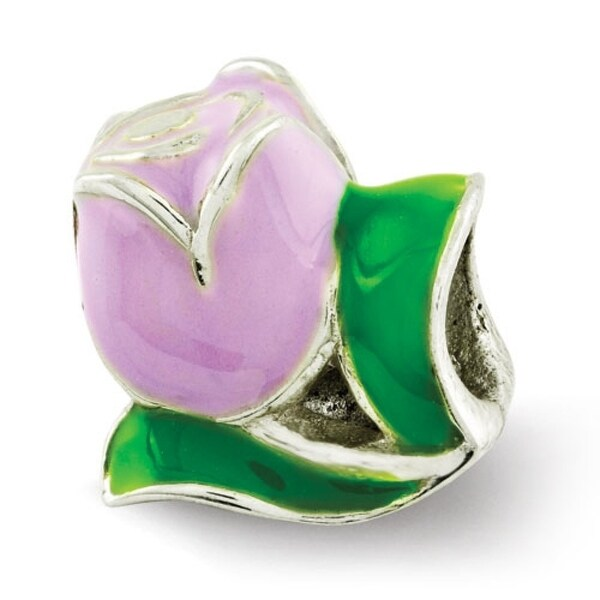 Sterling Silver Reflections Kids Enameled Tulip Bead (4mm Diameter Hole)