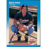 Signed Salas Mark Minnesota Twins 1987 Fleer Baseball Card autographed