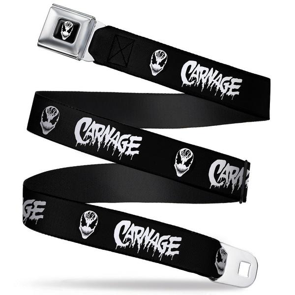 Marvel Universe Carnage Face Full Color Black White Carnage Face Black Seatbelt Belt