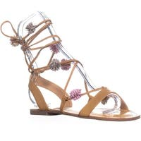 Carlos by Carlos Santana Gia Flat Lace Up Sandals, Sand Beige
