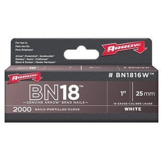 "Arrow BN1816WCS Brad Nails, 1"", White"