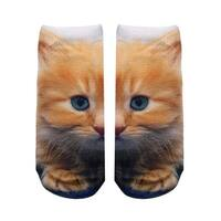 Kitty Photo Print Ankle Socks - Orange
