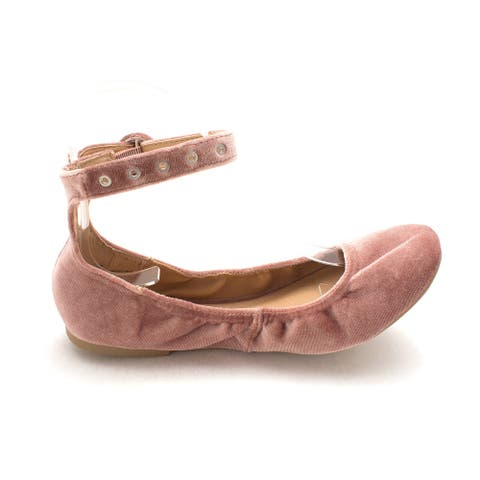 Material Girl Womens Francy1 Fabric Closed Toe Ankle Wrap Ballet Flats