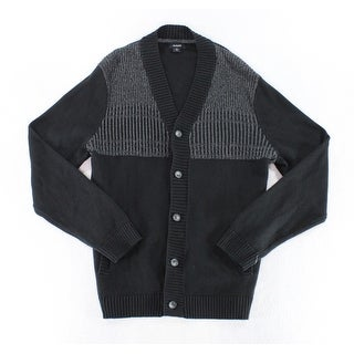Alfani NEW Black Mens Size Large L Button-Up Cardigan Colorblock Sweater
