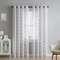 Olivia Trellis Embroidered Sheer 8 Grommet Panel 2-Pack, 38x96 Inches