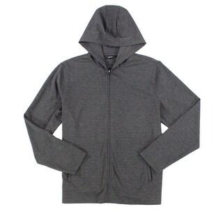 Alfani NEW Gray Mens Size XL Full Zip Hooded Stretch-Knit Sweater
