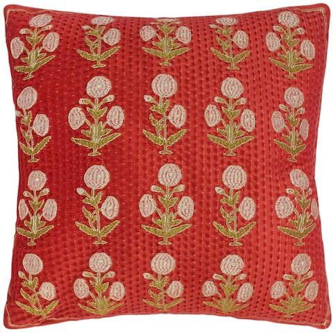 Shabby Chic Elmira Embroidered Velvet Floral Pillow