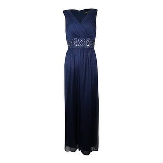 R&M Richards Women's Glitter Embellished Empire Waist Gown